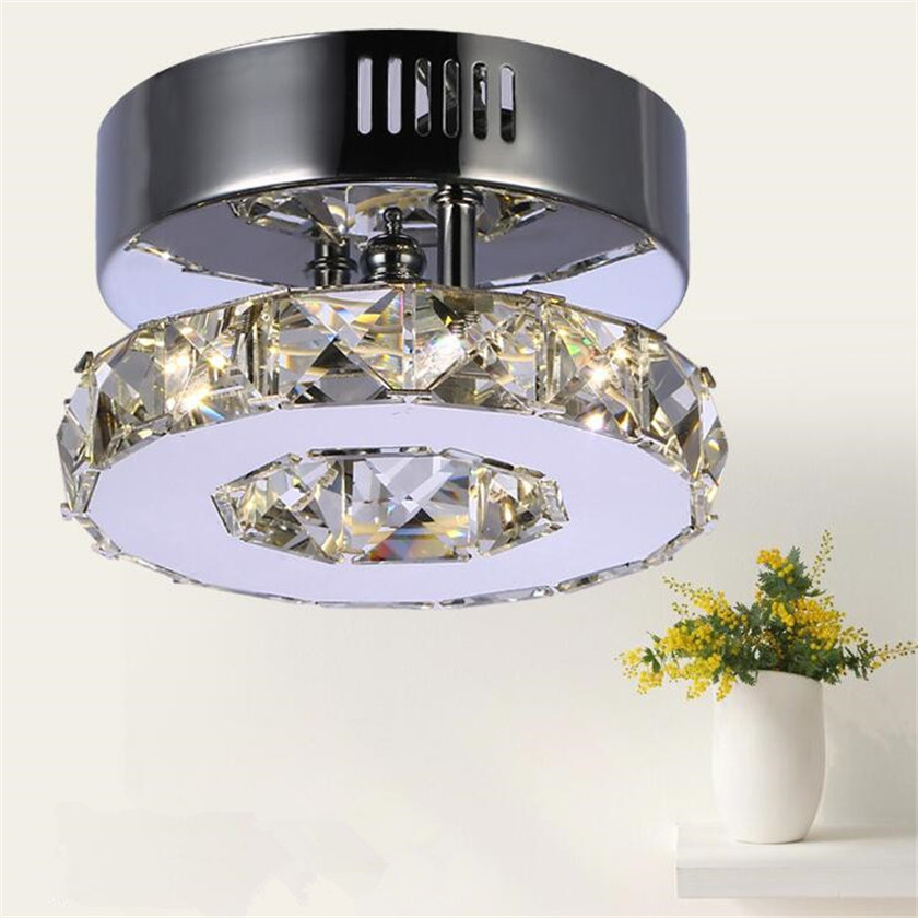 Modern Crystal Ceiling Lamp LED Ring D15cm Corridor Lights Stainless steel Aisle Lamp Balcony Lighting Led Lustres 110V-220V