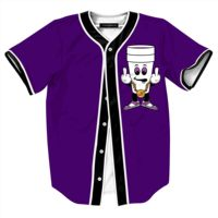 Hip Hop Rock Style Print Baseball Jersey Purple Shirt Mens Womens Short Sleeve Tops Tee Funny Summer Harajuku Streetwear Tshirt