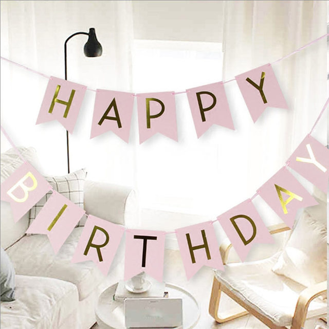 1 Bag Lovely Hang Pennants Happy Birthday Paper Flag Party Favor Decor Celebration Supplies Happy Birthday Letter Banner XH8Z