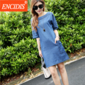 2017 últimas mujeres de moda de verano denim dress plus size 3xl azul mini media manga casual jeans vestidos estilo europeo q60