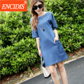 2017 mais recente moda feminina verão denim dress plus size 3xl azul mini meia manga vestidos jeans casual estilo europeu q60