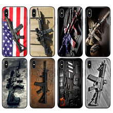 Black tpu case for iphone 5 5s se 6 6s 7 8 plus x 10 case silicone cover for iphone XR XS MAX case Rifles AR 15 Guns(China)