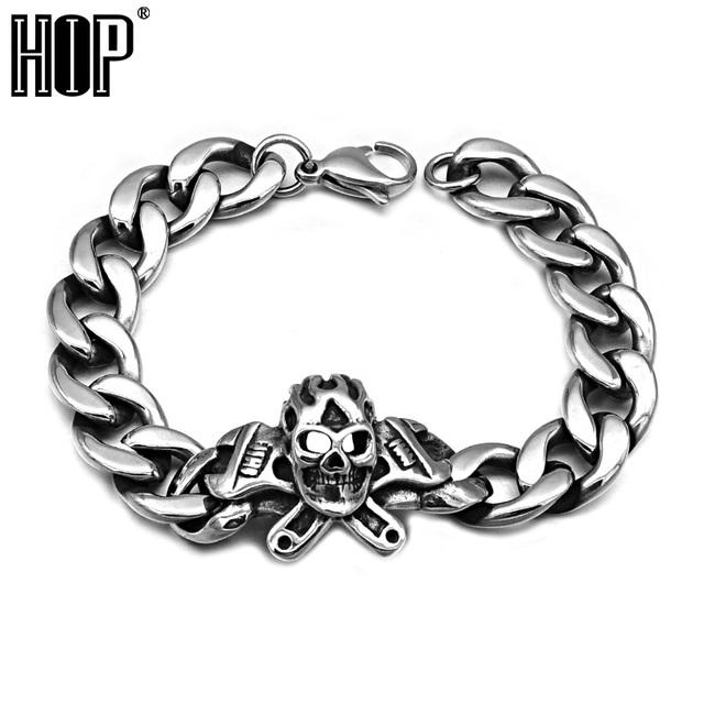 Hip cadena llave esqueleto cráneo punky de la vendimia de los hombres pulsera brazalete plateado de metal de acero titanium inoxidable