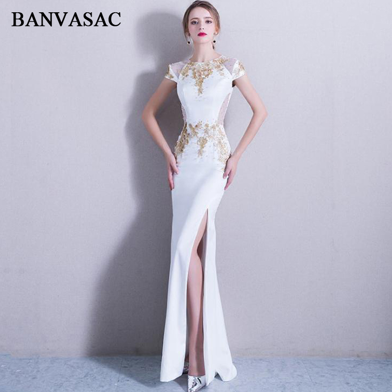 BANVASAC 2020 Crystal O Neck Gold Lace Appliques Split Mermaid Long Evening Dresses Party Short Cap Sleeve Prom Gowns