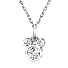 Baby Fashion 925 Silver White Zircon Cute Small Mouse Pendant Necklace For Children Girl Women Simple Gift Jewelry N439