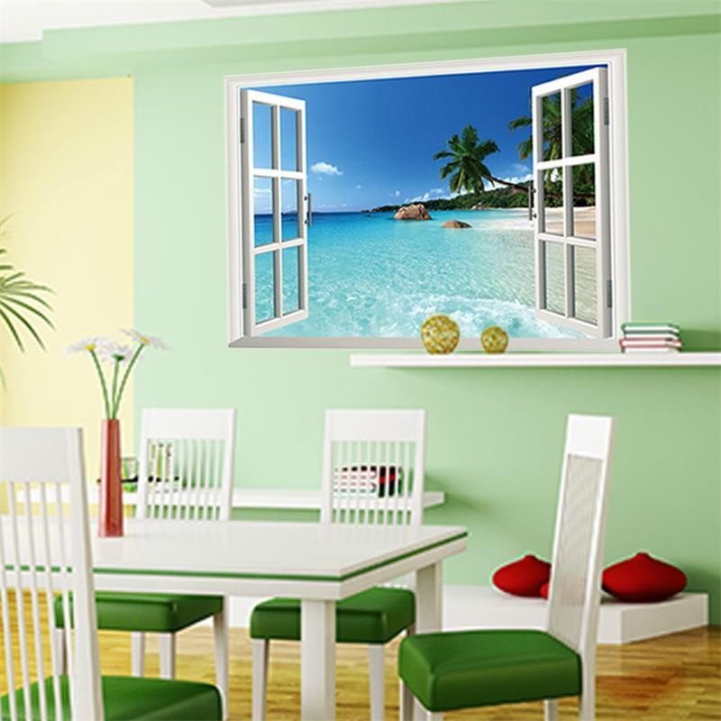 3d fake window wall stickers living room decoration home decals coconut sea beach pvc scenery mural art in wall stickers from home garden on