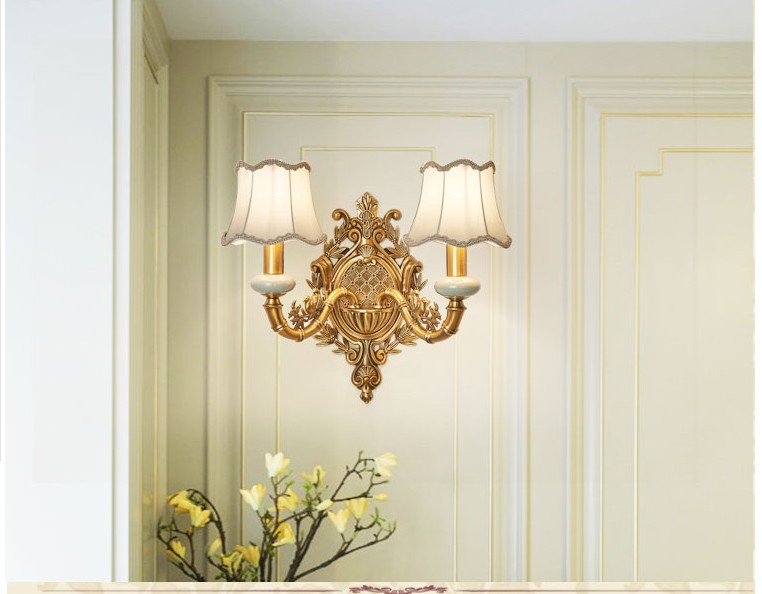 Free Shipping European Brass Wall Lamp Bronze Color Wall Sconce for Hotel With Fabric Shade Modern Copper Wall lamp Lustre