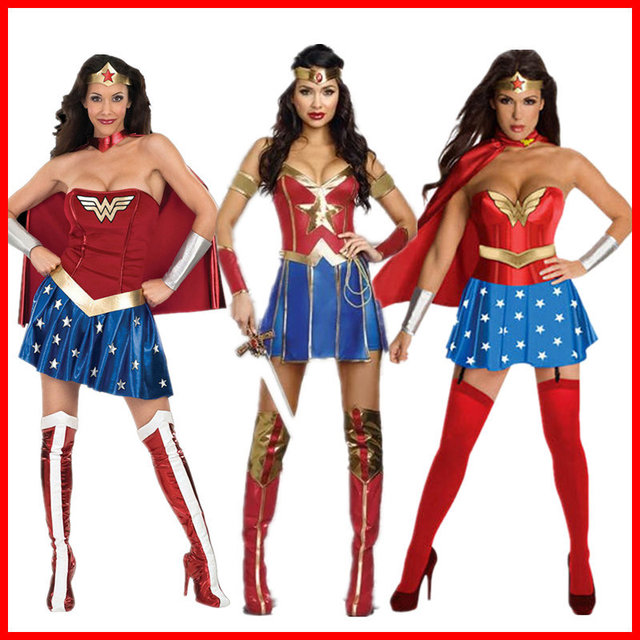 Costumes Wonder Woman Halloween Costumes for Women Cosplay Adult Ladies Super Girl Diana Prince Blue Dress  sc 1 st  AliExpress.com & Costumes Wonder Woman Halloween Costumes for Women Cosplay Adult ...