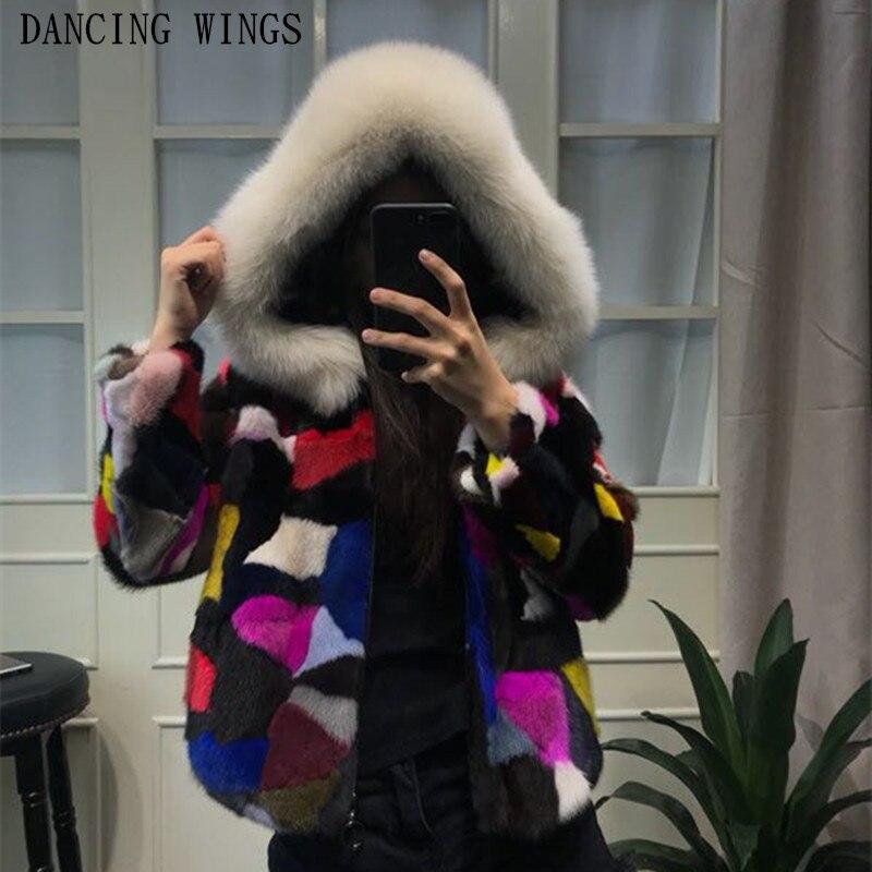 Multi color real mink fur coat and jacket natural fox fur hood collar genuine fur short coats for women outerwear