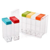 Kitchen Cooking Transparent Plastic Seasoning Jars Salt Sugar Spice Storage Rack Colorful Flavouring Box Condiment Pot Case Sets