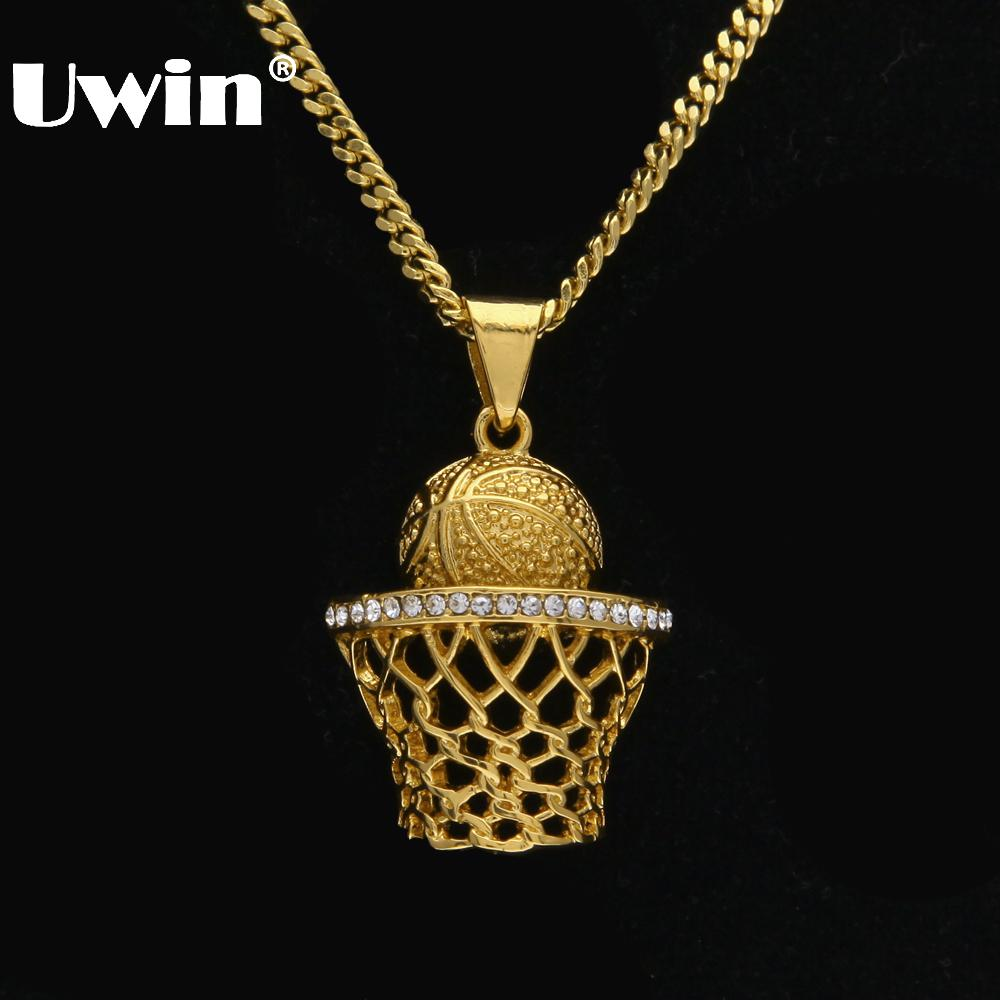 Uwin Basketball Hoop Sport Men Pendant Necklace Full Iced Out Rhinestones Gold Silver With 3mm 24inch Cuban Chain Hiphop Jewelry