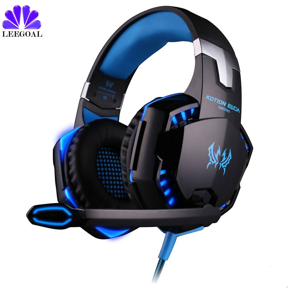 G2000 Deep Bass Game Headphone Stereo Surrounded Over-Ear Gaming Headset Headband Earphone with Light for Computer PC Gamer 2pcs each g1000 over ear game gaming headset earphone headband headphone with mic stereo bass led light for pc gamer
