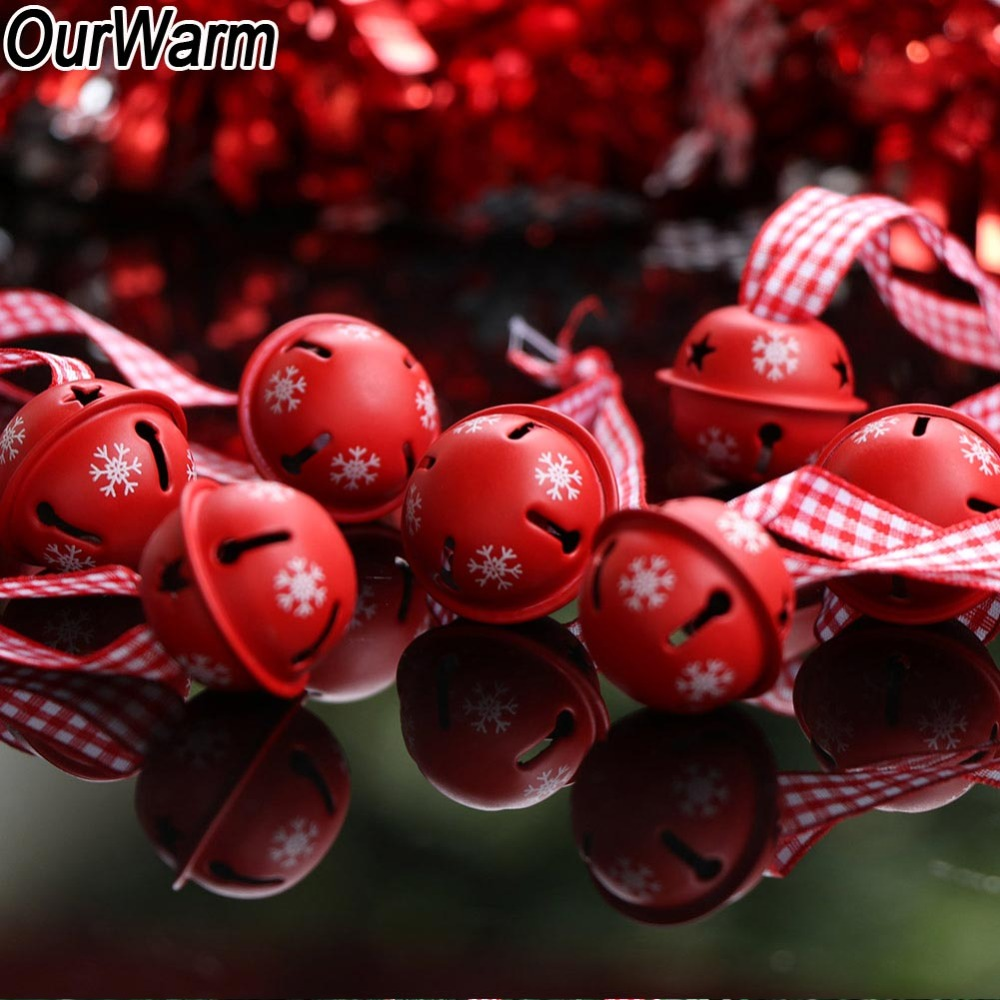 20 pièces En Métal Rouge Flocon De Neige Jingle Cloches Décoration De Fête De Noël Pendentifs Ornement 30 cm Ruban Décoration De Noël pour La Maison