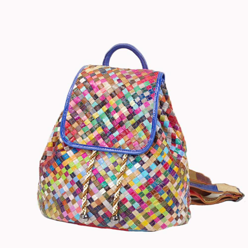 Caerlif brand genuine leather bags for women backpack stripe knitting colorful splicing small and pure and fresh bag backpack caerlif brand genuine leather bag colorful stripe weave vintage national wind shoulder bags female bag women messenger bags