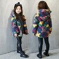 Осень и зимнее пальто ягненка кашемировые пальто девушки медведь камуфляж расстроен детей обычный пальто