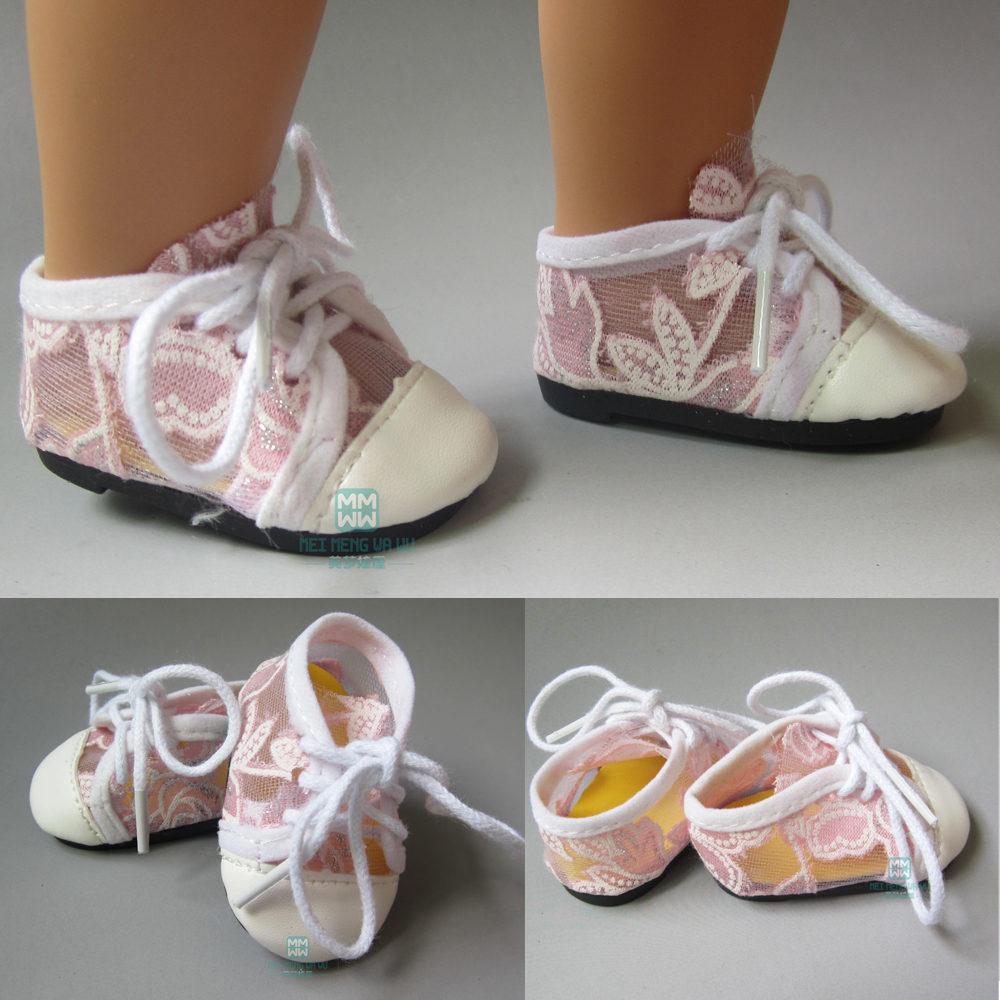 Buy one pair sneakers leather toy doll shoes for 18 inches 45cm American Girl doll accessories for $2.85 in AliExpress store