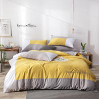 Bonenjoy Yellow Color Patchwork Bed Linen Set Queen King 3/4pcs Micorfiber Quilt Cover Embroidered Luxury Bedding Set