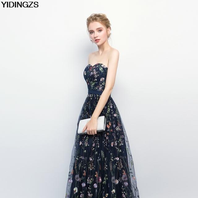 YIDINGZS Navy Blue Pleat Tulle Evening Dress 8 Colors Flower Embroidery Strapless Elegant Long Evening Dress New Arrive