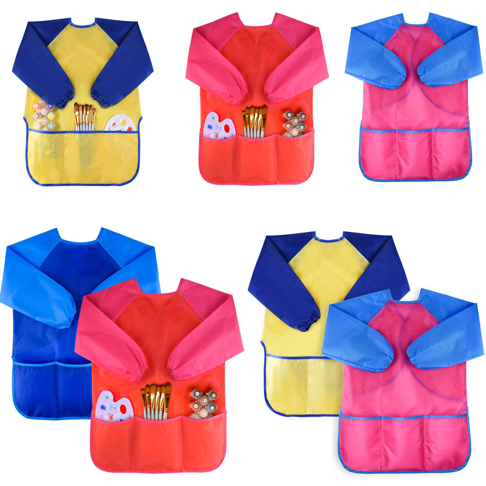 Kids Art Smocks Child Waterproof Artist Painting Aprons Long Sleeve with Pockets