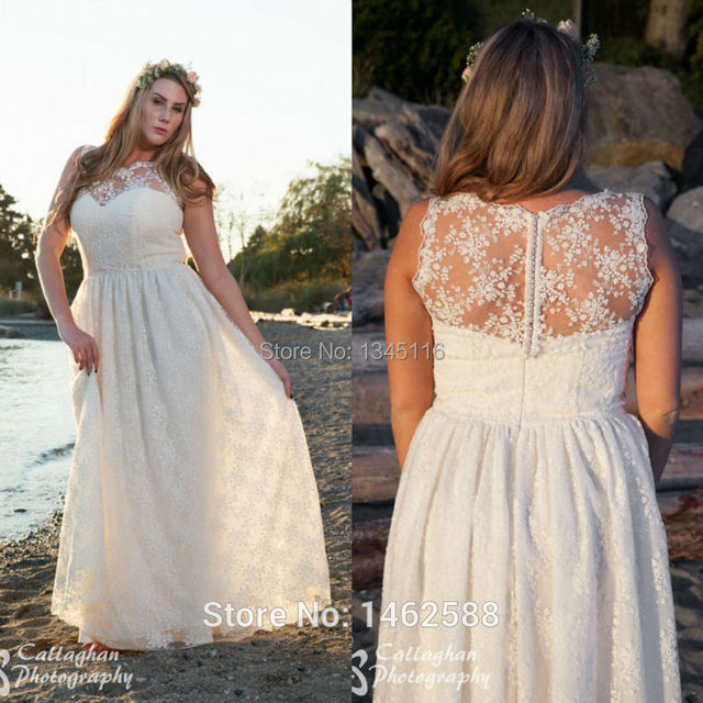 Ivory Lace Cap Sleeves Nude Back Boho Wedding Dress Plus Size
