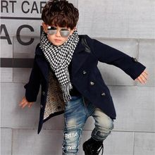 Children's clothing 2016 spring paragraph wool coat outerwear fashion boys fur woolen trench cotton-padded Windbreaker Quilted