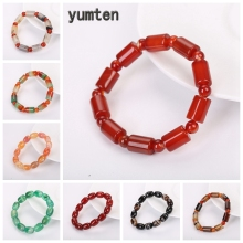 Yumten Natural Gem Bracelet Women Beaded Accessories Bucket Bead Fashion Power Crystal Statement Gift Good Luck Romantic Jewelry