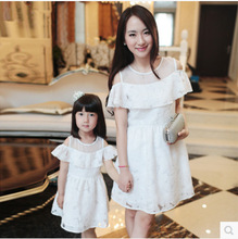 2016 мать дочь платья белый без бретелек листья лотоса платье корейских детей одежда семьи 4 — 9 лет