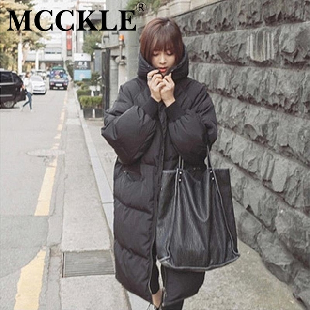 MCCKLE  thicken warm Jacket With Hood 2016 Autumn Winter Oversize Black Womans Parkas Coats Hooded Jackets fashion outwear