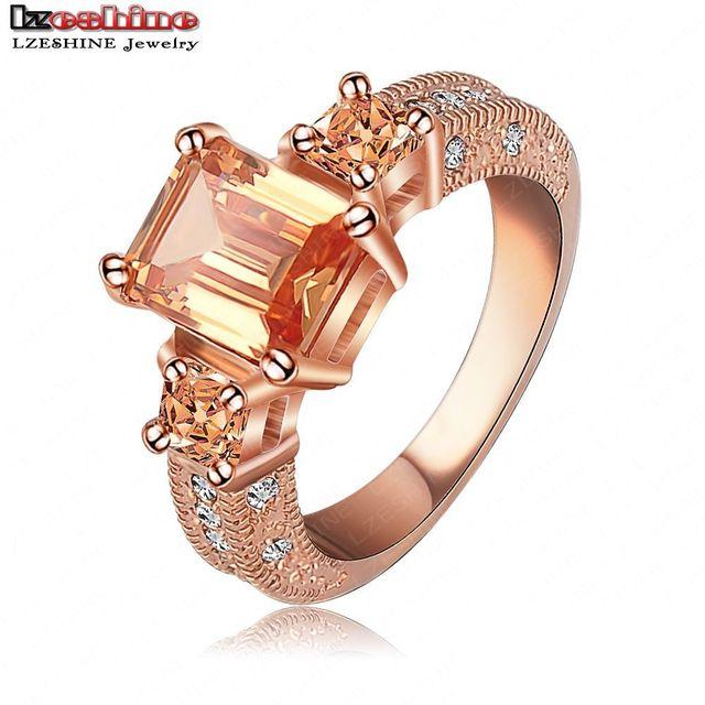 LZESHINE 2016 Beautiful Rectangle Zircon Cutting Ring Rose Gold