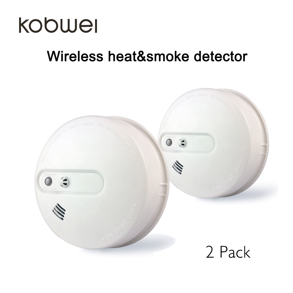 2pcs heat and smoke detector all in one wireless fire alarm detector battery powered in smoke. Black Bedroom Furniture Sets. Home Design Ideas