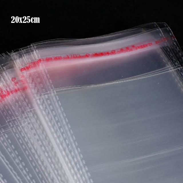 01afd2c34 20x25 cm + 4 cm sello autoadhesivo transparente bolsas de plástico de  polietileno