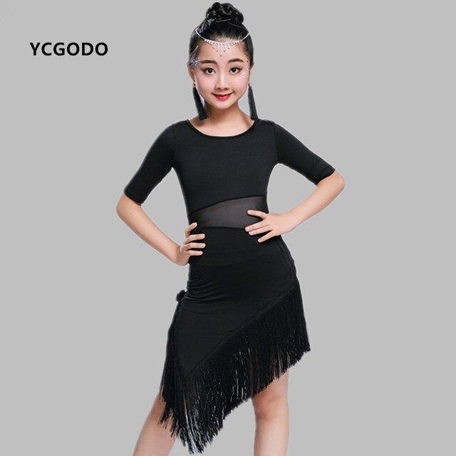 3097a7d60ea4 Children  s Latin dance dress children s black red fringes salsa ...