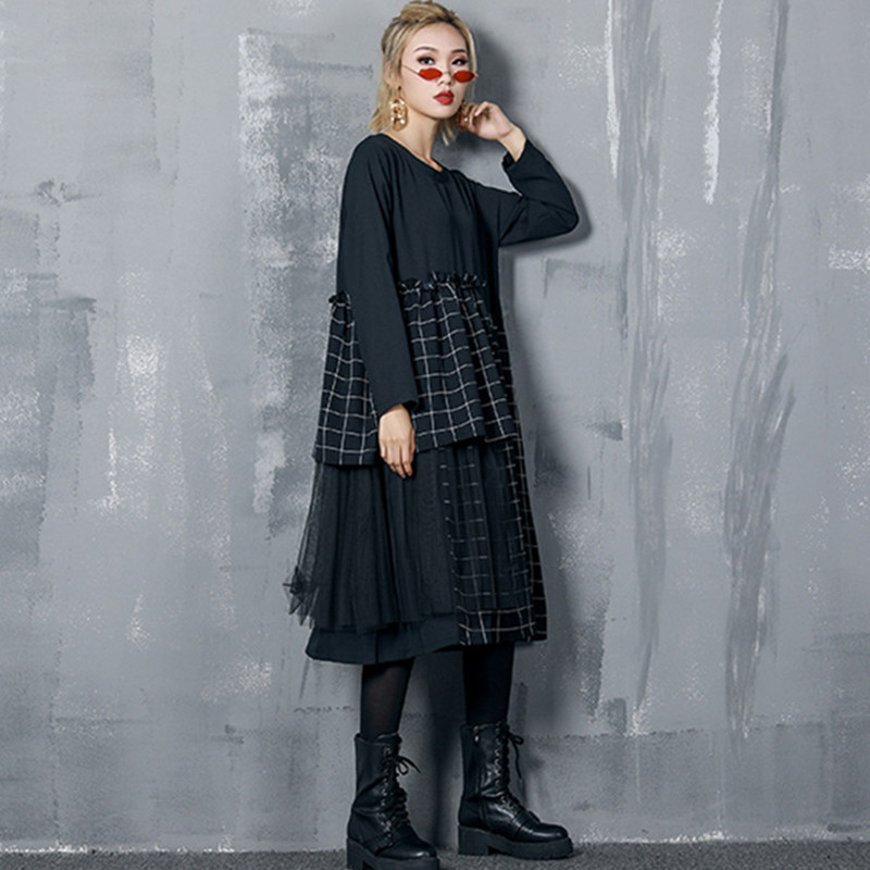 Johnature O-Neck Long Sleeve Patchwork Plaid Dresses Pullover Loose Irregular Lace Streetwear Women Dresses 2019 New Spring
