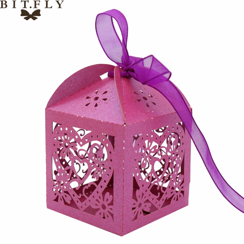10pcs Wedding Favour Candy Boxes Bags With Ribbon Sweet Cake Gift Party Favor