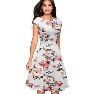 Image 3 - Nice robe de soirée Vintage, imprimé Floral, élégante, manche Cap, forme trapèze, évasée, btyA067