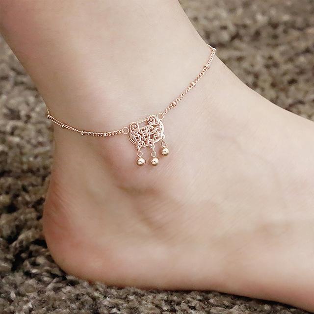Feminina aumentou Tornozeleiras de Ouro Pulseras Femininas Tornozeleiras sandálias pé jóias praia Boho Hippie AB003