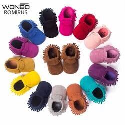 Лидер продаж из искусственной замши для новорожденных для маленьких мальчиков девочек Детские Мокасины Мягкие Moccs обувь Bebe бахрома на