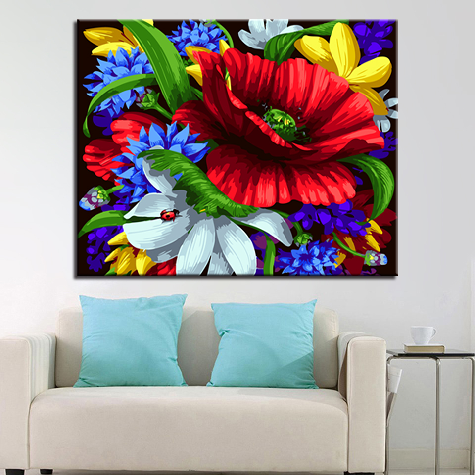 Framed DIY Oil Painting By Numbers Kits Coloring Colorful Flowers ...