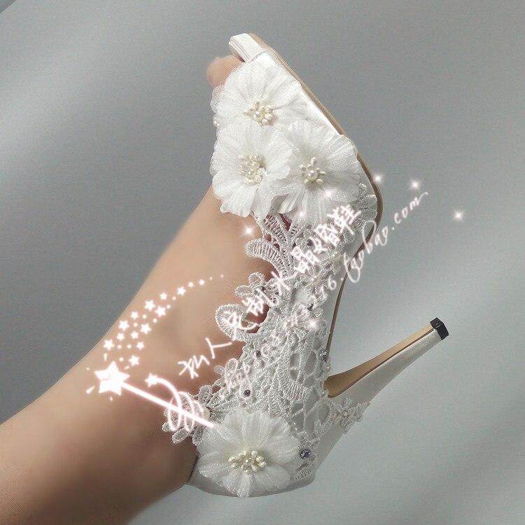 shoes lady flowers satin lace wedding shoes pearl crystal brides bride pumps water drill super heel waterproofing peep toe zambaiti satin flowers 2214