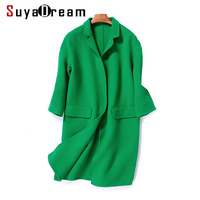 Women Wool Coat 95 Wool 5 Cashmere Solid Winter Coats Pockets Turn Down Collar Outer Wear