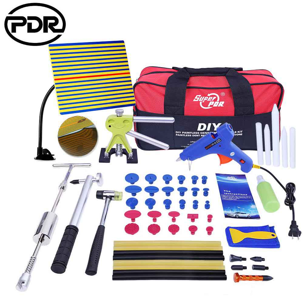 PDR Tools kit Paintless Dent Repair Tools set Dent Removal Dent Puller Reflector Board Puller Tabs Glue Gun hand tools цена