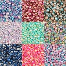 4/6/8/10 мм мульти вариант размера около 250 шт./лот случайный смешанный цвет, не требующие отверстия в ухе, жемчуг Круглые бусины для рукоделия, скрап-украшение