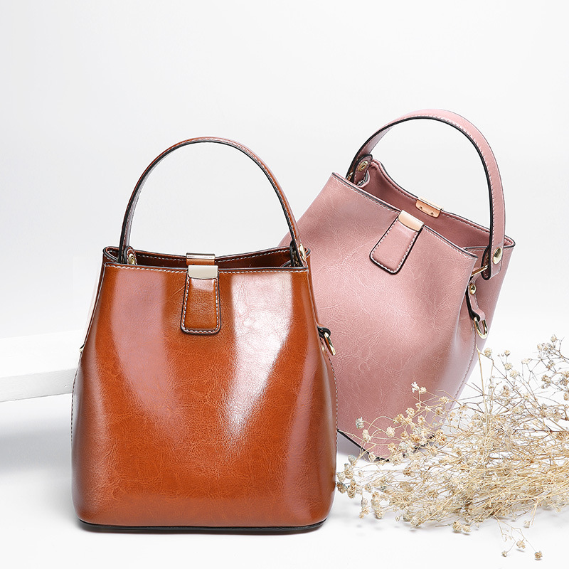 High Quality 100% Genuine Leather Women's Handbags Vintage Shoulder CrossBody Bags For Women Leather Top Handle Tote Bags Women