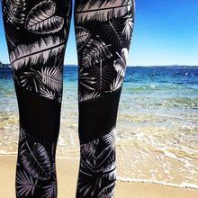Black Women Sports Yoga Pants Print Tropical Rainforest Ladies Gym Running Fitness Leggings Elastic Tights Sport Slim Pants