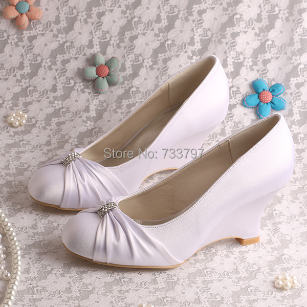 (20 Colors)Custom Handmade White Satin Wedge Pumps Bridal Shoes Closed Toe