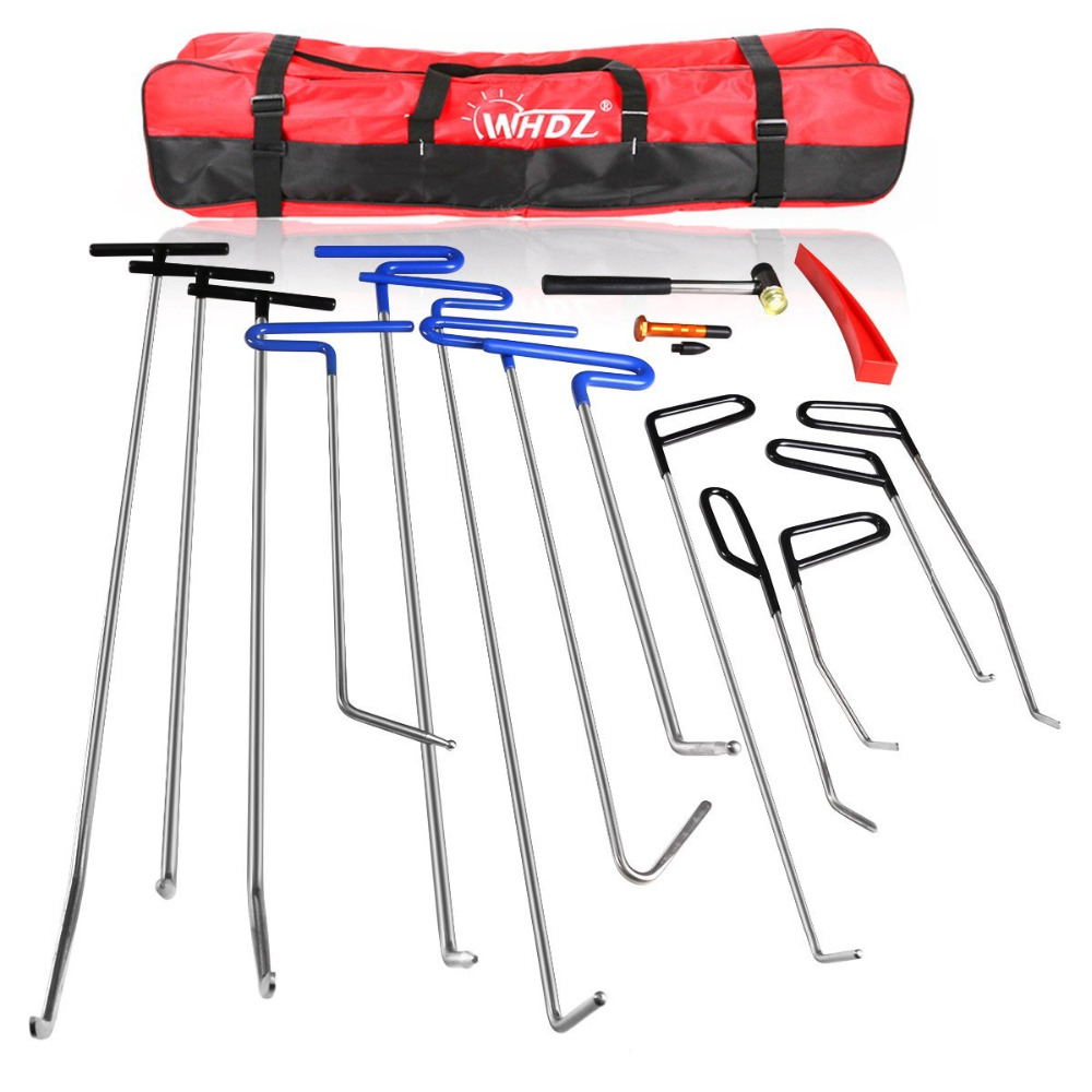 Hand Tool Sets Glorious Whdz Pdr Rods Hooks Car Crowbar 16pcs Auto Body Dent Repair Hail Damage Removal Tools Pdr Rods Tool For Car Dent Ding Removal Tool Sets
