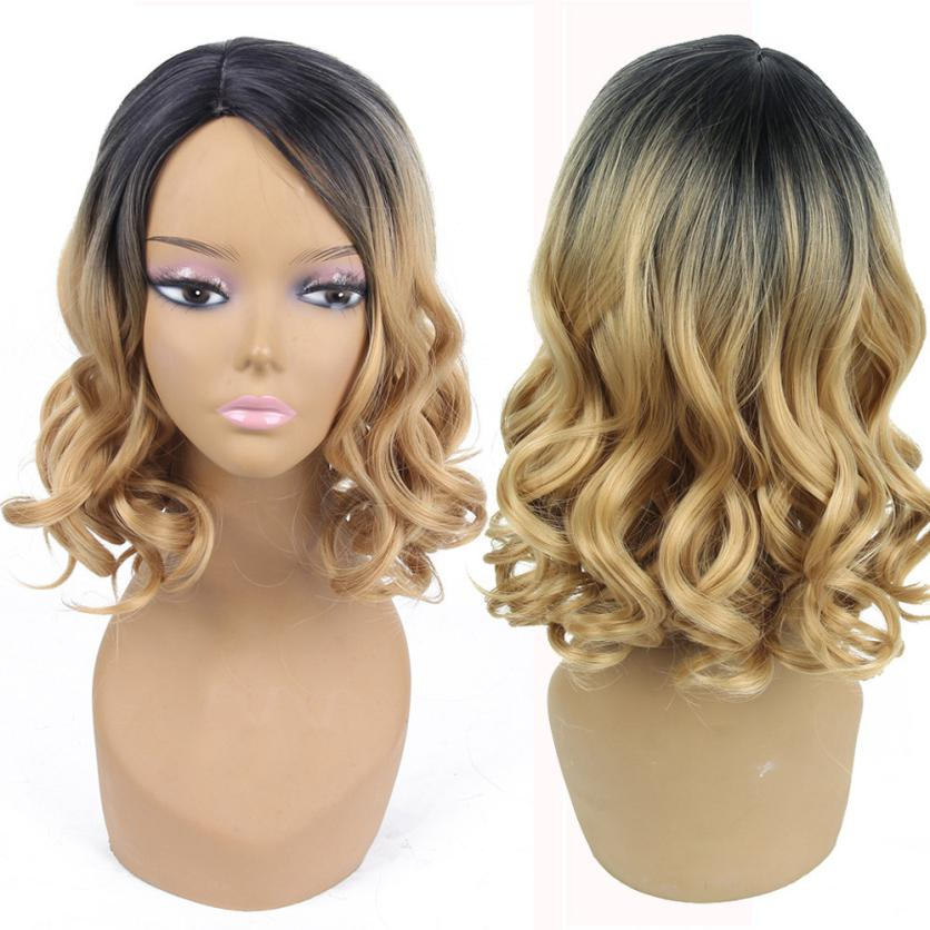 Women Fashion Lady Gold Gradient Short Curls Hair Cosplay Party Wig Full Wig 0703 ...