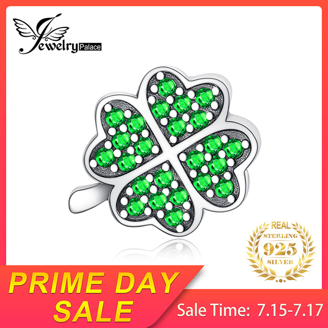 JewelryPalace Lucky Clover 925 Sterling Silver Beads Green Cubic Zirconia Beads Charms fit Bracelets Bangles Women DIY Jewelry