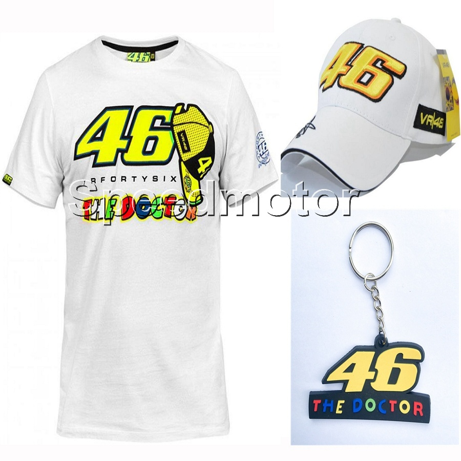 HOT SALE! 2018 VR46 For Yamaha MotoGP T-Shirt VR 46 The Doctor motorcycle riding Racing T shirt cap key ring