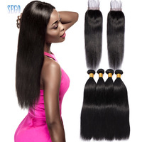 Straight Hair Bundles with Closure Natural Color Peruvian Hair Extensions Brazilian Non Remy Human Hair Bundles With Closure 4ps